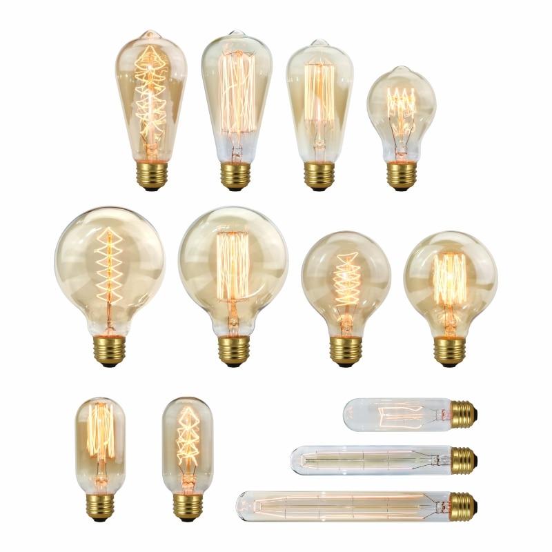 Dimmable Edison Light Bulb E27 220V 40W A19 A60 ST64 T10 T45 T185 G80 G95 Filament Vintage Ampoule Incandescent Bulb Edison Lamp