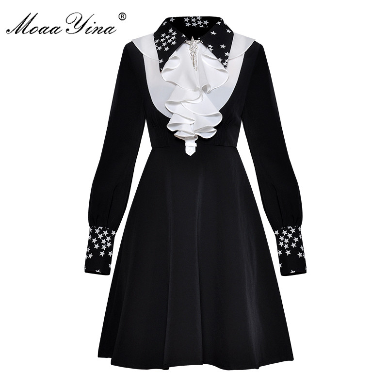 MoaaYina Vintage Elegant Turn down Collar Ruffles dress Fashion Designer Runway Spring Women Dress Long sleeve