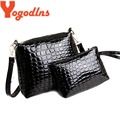 2PCS Bag Set Women Messenger Shoulder Bag Crocodile PU Leather Casual Crossbody Quilted Bags Set Women Clutch Composite Handbags