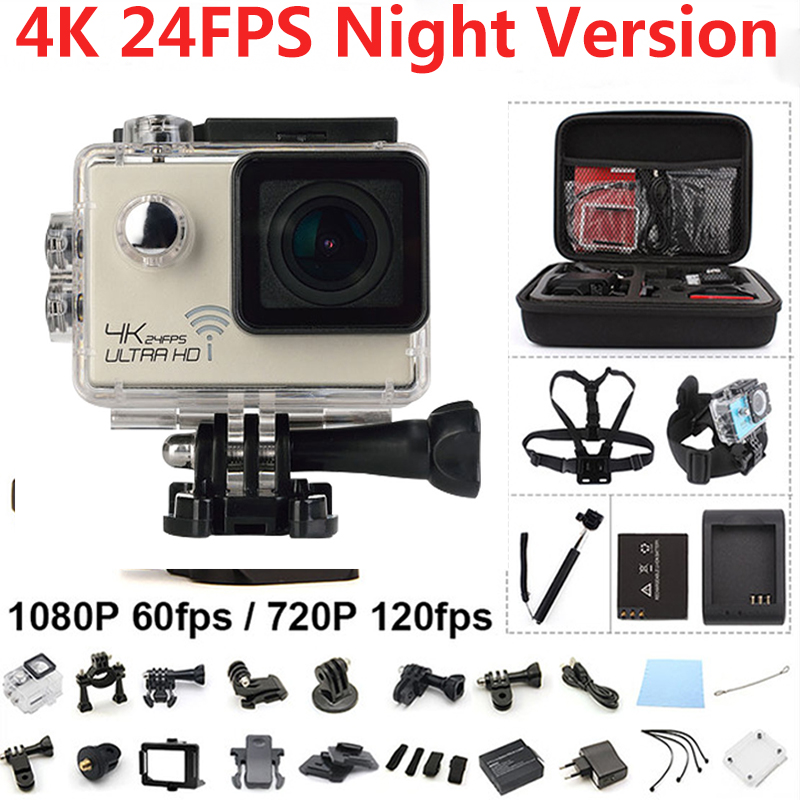 4K Action Camera Night Vision WiFi Ultra HD Sport Camera 2.0 inch Waterproof 16MP 170 Degree Extreme Sport Cam  Sports DV hot ultra hd 4k camera action camera waterproof 16mp wifi extreme sports cam mini sport dv with remote control 3132
