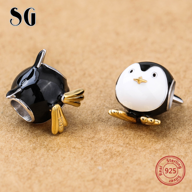Lovely Charm Animal Penguin Beads Silver 925 Beads Fit Authentic pandora Bracelets DIY Pendant Jewelry Making For Women Gifts