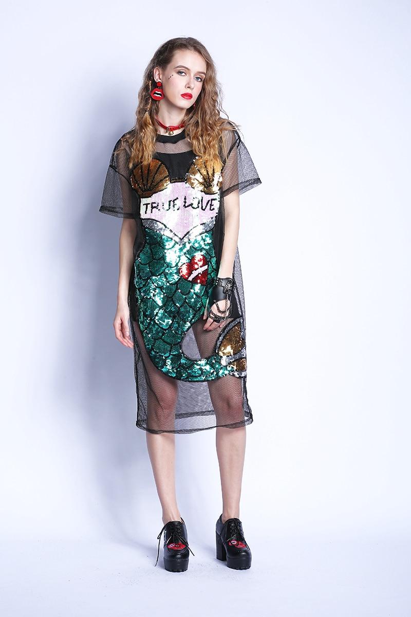 Sexy Black Cartoon Mermaid Loose Sequins Straight Mesh Dress
