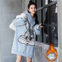 New Korean version of loose large size plus velvet sweater cartoon sequins embroidered pregnant dress