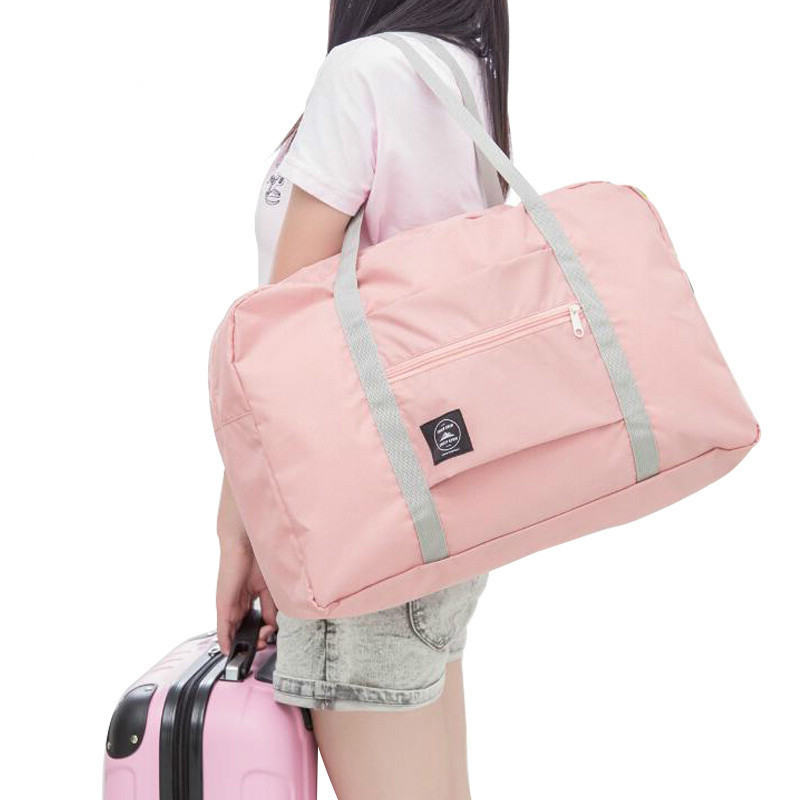 New Women Folding Travel Big Bag Waterproof Nylon Travel Bags For Girl Fashion Travel Duffle Bags Large Handbags Duffel Pink Vs