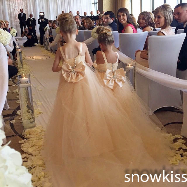 New coming champagne bow Sash Beaded crystal wedding Ball Gown vintage toddler Kids frocks Flower Girl Dress with long train