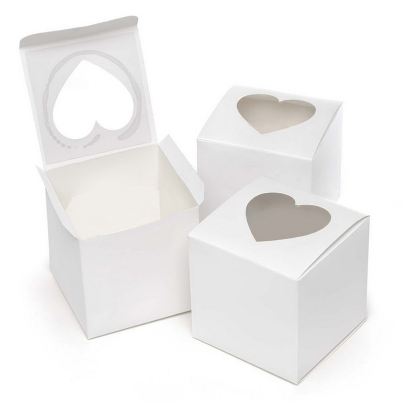 Singling cupcake boxes 6 * 6 * 6cm cajas de pastel de papel blanco y - Para fiestas y celebraciones - foto 2