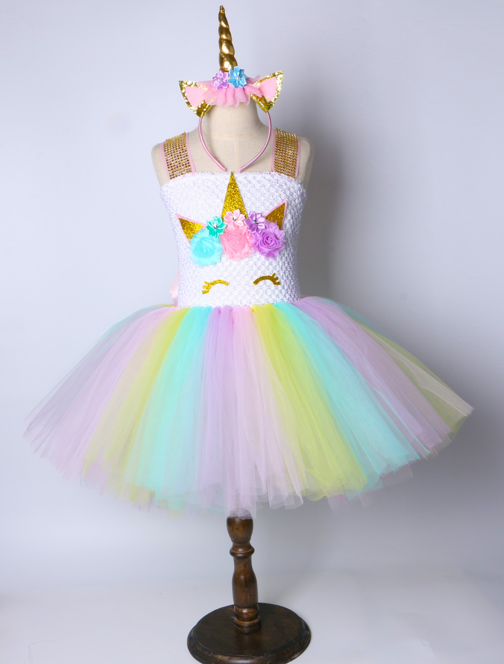 Children Girls Unicorn Tutu Dress Rainbow Princess Kids Birthday ... f72e1285405a