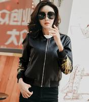 Hot ladies leather jackets 2017 fall new Slim short jacket women stand collar embroidery washed pu leather
