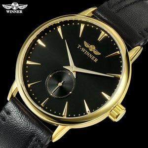 Image 4 - Mannen Mechanische Horloges Winnaar Top Luxury Brand Hand Wind Horloges Rvs Lederen Band Forsining Man Waterdichte Klok