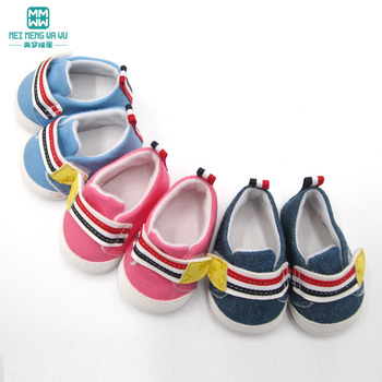 2019 new toy baby shoes for 43 cm born doll accessories and American fashion Casual pink, blue, denim blue