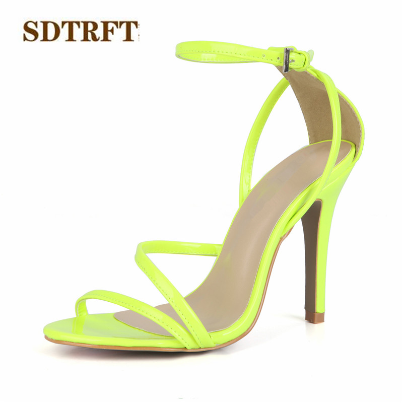 SDTRFT zapatos mujer Summer Narrow Band Buckle sandals 10cm thin high heels Open Toe wedding shoes woman Ankle Strap pumps гидрофутболка женская roxy shade