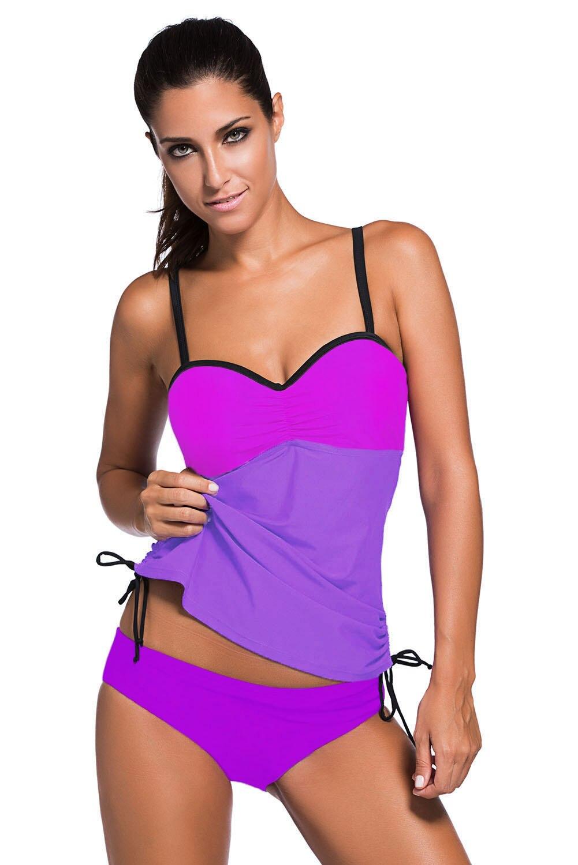 Colorblock Swimsuit Sexy Women Straps Padded Two Piece Tankini Swimwear Bathingsuit Beach Wear Bikini Monokini