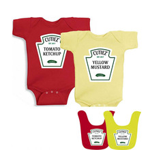 YSCULBUTOL  2018 Hot Design Ketchup and Mustard Set Bodysuits Twins Outfit One Piece Cute Funny And Red Yellow Baby Bibs