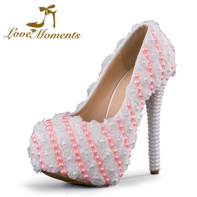 Love Moments wedding shoes woman white pink pearl lace flowers sweet female high heels platform women shoes bridal ladies shoes