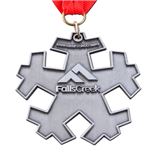 Custom Metal Snowflake Imprint Logo Medallion for Promotion cheap custom metal antique silver medals