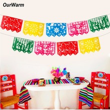 OurWarm Mexican Banner Garland Wedding Flag Decorations for Themed Party Papel Picado Halloween Birthday