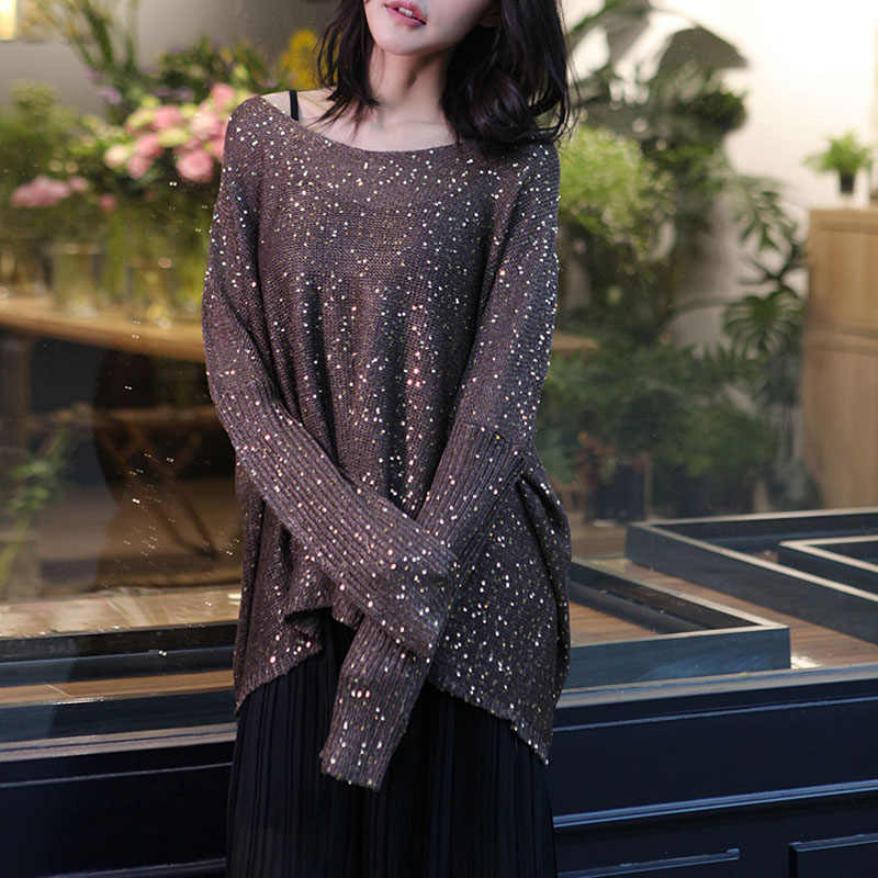077c62a94b Cakucool Gold Lurex Knit Tops Women Long Batwing Sleeve Big O-neck Sequined  Sweaters Silver