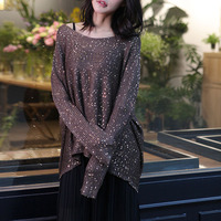 Cakucool Gold Lurex Knit Tops Women Long Batwing Sleeve Big O neck Sequined Sweaters Silver Thread Shiny Loose Ladies Jumpers
