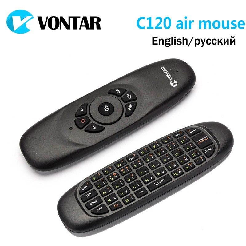 Genuine VONTAR Russo Inglês VONTAR C120 air Mouse Recarregável mini Teclado Sem Fio para o Android TV Box Computer