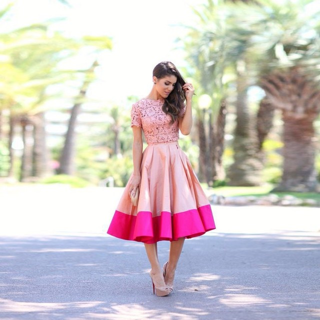 Lace 2 Piece Party Dress Short Sleeve Formal Wear 2016 Draped Tea Length Vestido De Festa Dress For Graduation Ballkleider