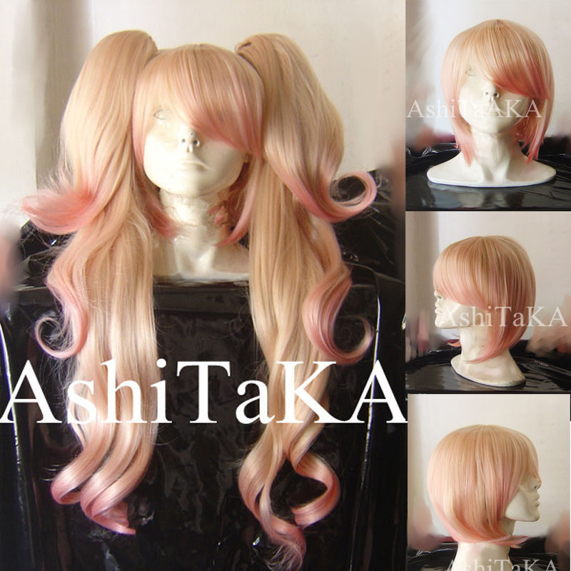 Danganronpa Dangan Ronpa Junko Enoshima Wig Light Pink Ombre Heat Resistant Sythentic Hair Clip Ponytails Cosplay Wig + Wig Cap