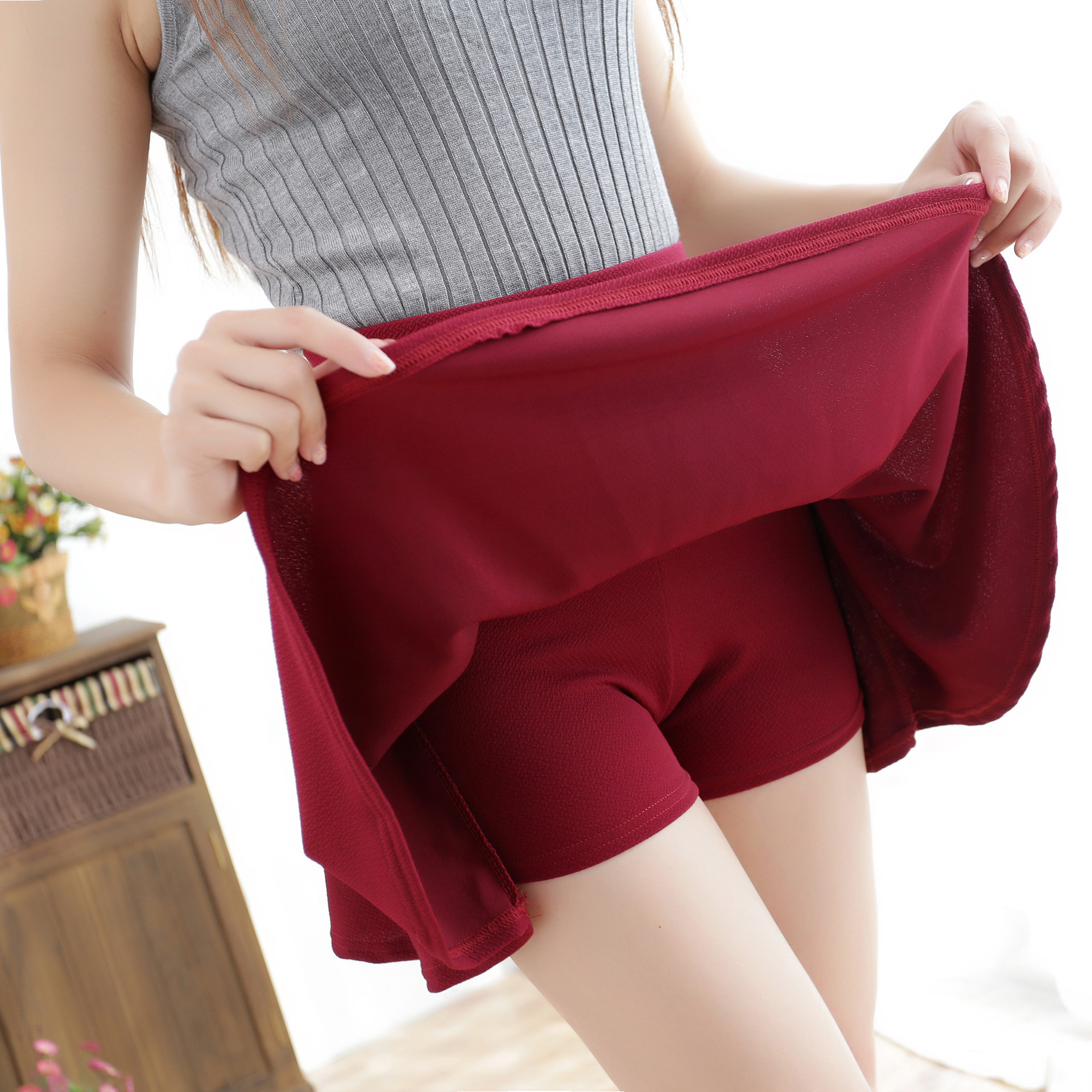 Liva Girl High Waist Elastic Mini Skirts With Safety Pants Women Casual A-line Pleated Skirts Harajuku Kawaii Cute School Skirts