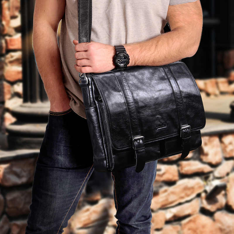 CONTACT'S الخضار جلد الرجال حقيبة للمحامين 13 بوصة حقيبة يد للحاسوب المحمول باد كبير خمر الأعمال الذكور حقيبة ساعي أسود