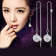 Fashion beautiful 925 sterling silver earrings Long female luxury Switzerland Rhinestone earrings graduation ear wire jewelry