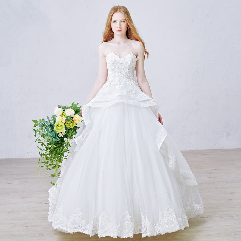 Wedding Ball Gowns Sweetheart Neckline: MZYW0164 Strapless Sweetheart Neckline Lace Applique