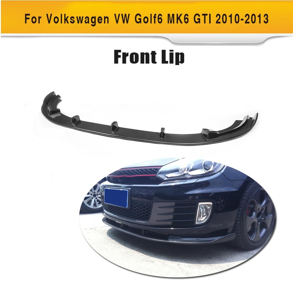 Carbon Fiber Front Bumper Lip Spoiler Chin for Volkswagen VW Golf 6 MK6 GTI Only 2010 2011 2012 2013 Non standard Black FRP