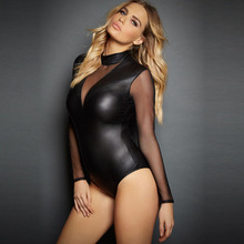 hot deal buy new plus size xxl women sexy lingerie long sleeve transparent latex mesh leotard dance clubwear nightwear faux leather bodysuits