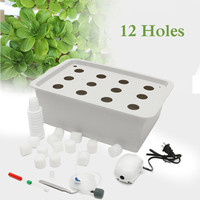 12 Holes Plant Site Hydroponic Garden Pots Planters System Indoor Cabinet Box Grow Kit Bubble Nursery Pots