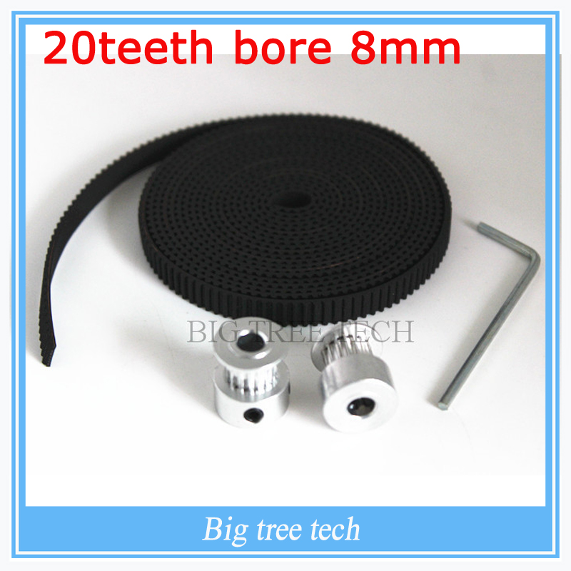 Free Shipping 2Pcs 20-GT2-6 bore 8mm GT2 Pulley And 2m GT2-6mm Open GT2 Belt KIT For 3D Printer(4xM3 setscrews and 1xAllen Key