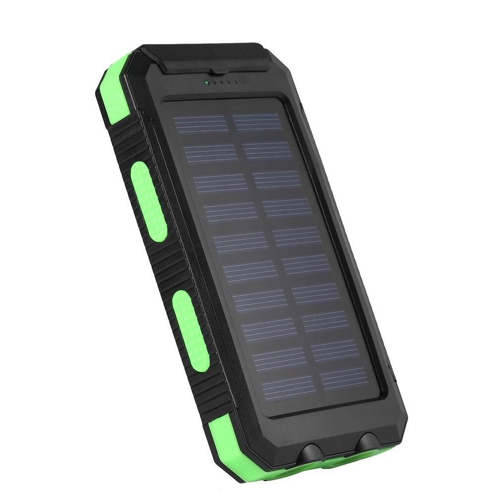 imágenes para 15000 mAh Portable USB Dual Impermeable Ligero Potente Solar Power Bank Cargador de Batería Externo Con Gancho y Luz LED