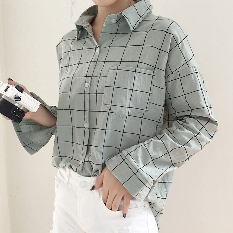 KYMAKUTU New Spring Ladies Tops Loose Casual Plaid White Blouses and Shirts for Women Clothing Fashion Bluzki Damskie 3 Colors