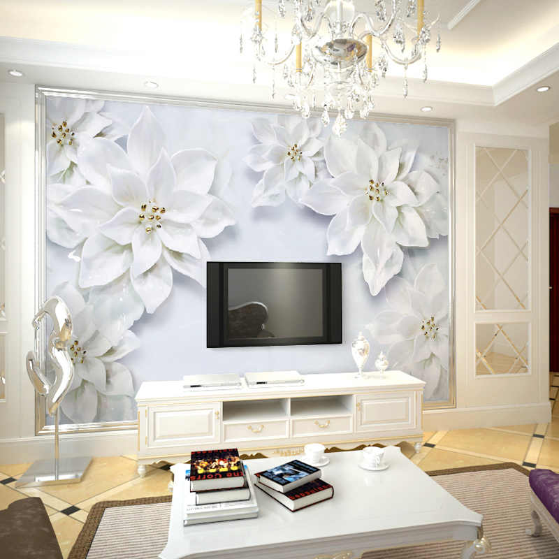 5d/8d Large Mural White Magnolia Flower Papel Murals 3d Wallpaper for Living Room Sofa Background 3d Photo Mural 3d Wall Murals shinehome sunflower bloom retro wallpaper for 3d rooms walls wallpapers for 3 d living room home wall paper murals mural roll