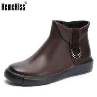 Women Real Genuine Leather Flat Ankle Boots Half Short Boot Autumn Retro Winter Botas Feminina Footwear