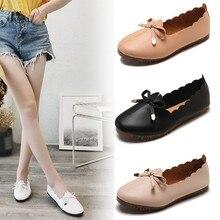 De moda arco boca baja Slip-on Vintage mujer cómodos de cuero del dedo del pie redondo de las mujeres, zapatos planos mocasines zapatos de mujer