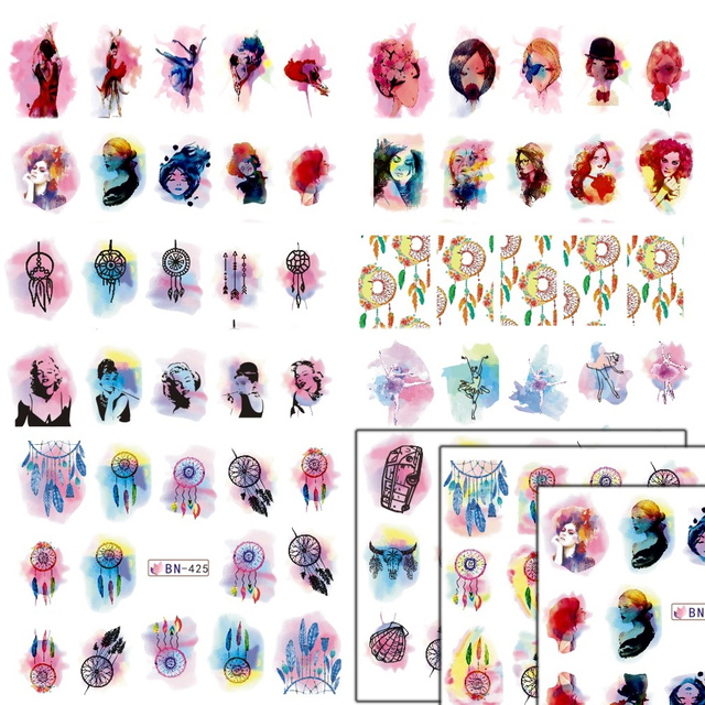 New arrival 1 sheets watercolor gradual beauty girl dream catcher sticker nail decals watermark diy