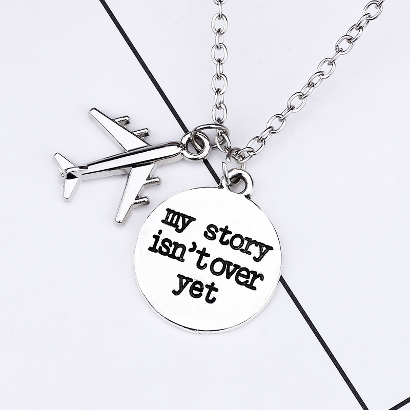 Classic DIY Letter My Story Isn't Over Yet Airplane Necklace For Women Men Unisex Inspirational Pendant Jewelry Gifts 2019 image