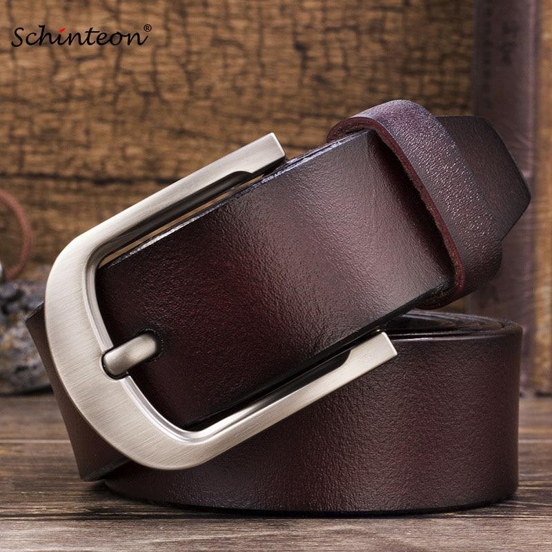 Schinteon Men Cowhide Genuine Leather Jean Pin Buckle Belt Casual Waist Strap High Quality Yellow