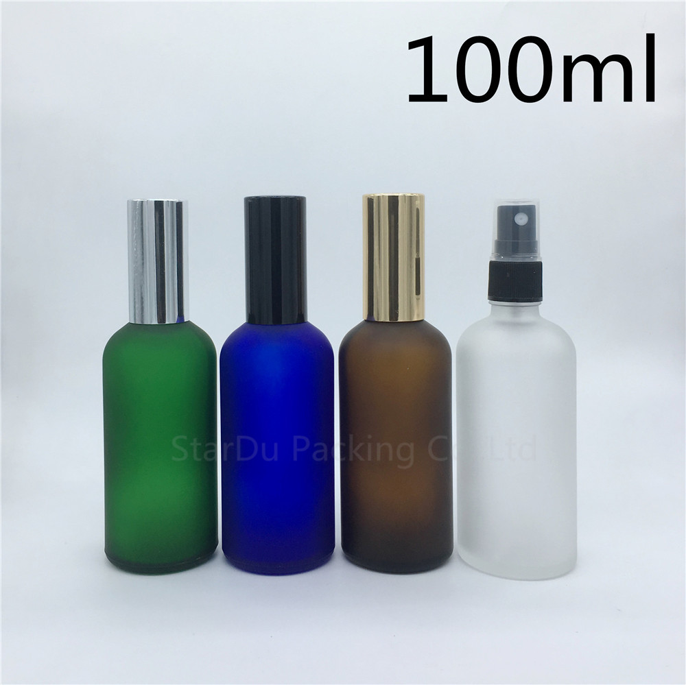 travel bottle 100ml amber blue green transparent frosted glass bottle with sprayer 100cc perfume bottle Spray