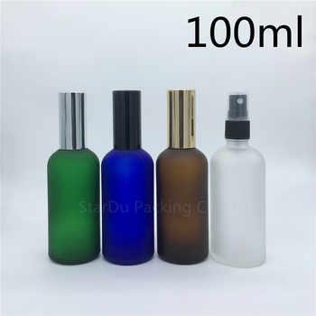 travel bottle 100ml amber blue green transparent frosted glass bottle with sprayer, 100cc perfume bottle Spray Bottles 200pcs - Category 🛒 Beauty & Health
