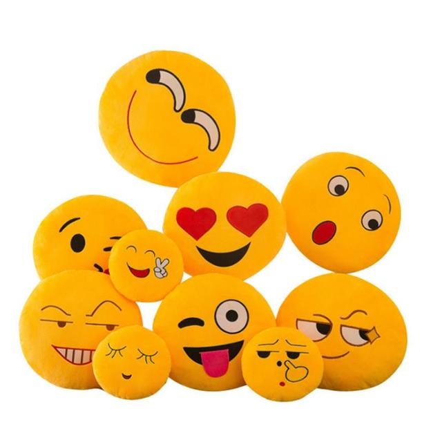 New Smiley Face QQ Emoji Pillows Soft Plush Emoticon Round Cushion Home Decor Cute Cartoon Toy Doll Decorative Throw Pillows 3