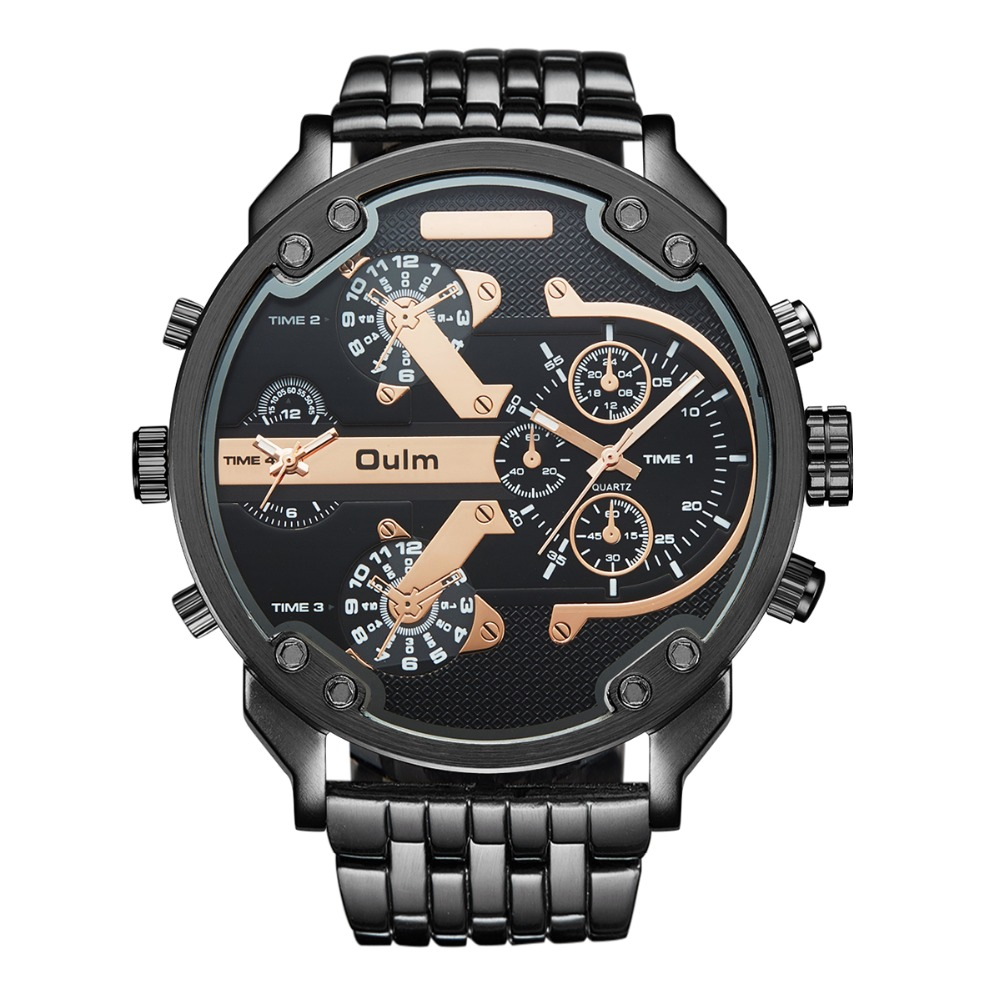 Oulm Super Big Watches for Men Heavy Alloy Male Quartz Watch Oulm Brand Luxury Two Time Zone Relojes grandes para hombres