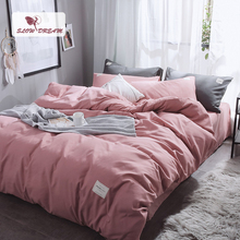 SlowDream Pink Bedding Set Solid Color Luxury Bedspread Flat Sheet Pillowcase Bed Linens Bedclothes Japan Style Duvet Cover