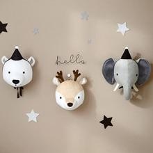Pluszowe głowy słonia jelenia jednorożca na ścianę 3D trofeum ozdoba do pokoju dziecka