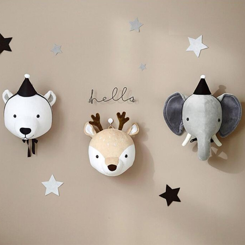 Kids Room Decoration 3D Animal Heads Elephant Deer Unicorn Head Wall Hanging Decor For Children Room Nursery Room Decoration