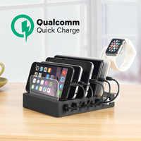 Ladestation mit Schnell Ladung QC 3,0, Schnellste 6-Port Docking Station, USB Ladestation für Mehrere Geräte, Handys, Tablet
