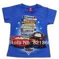 Бесплатная доставка! летняя мода с коротким рукавом Автомобилей мультфильм детей 100% хлопок персонализированные с коротким рукавом Т-Shirts. For boys